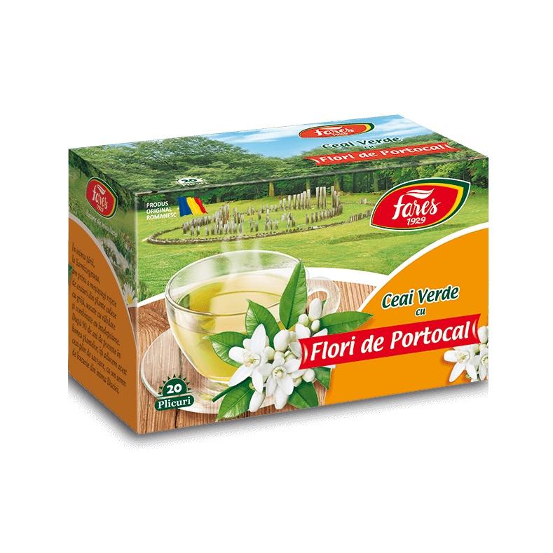 Ceai verde cu flori de portocal, 20 plicuri, Fares