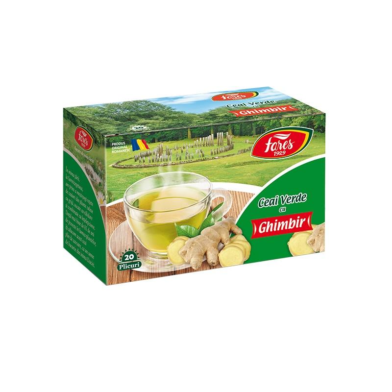 Ceai verde cu ghimbir, 20 plicuri, Fares