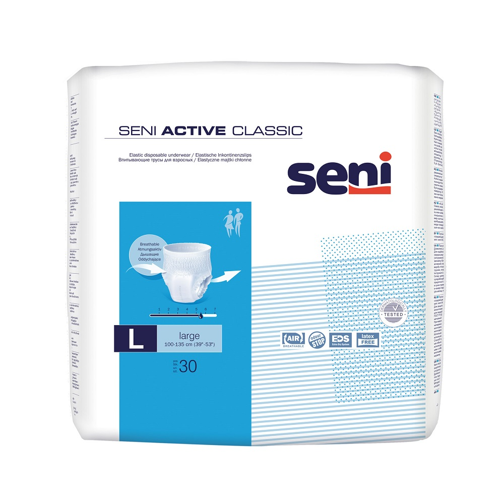 Chilot elastic absorbnt, Large, 30 bucati, Seni Active Classic