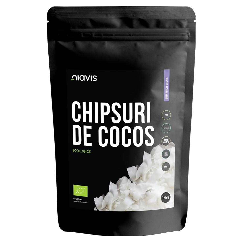 Chipsuri de cocos raw ecologice, 125g, Niavis