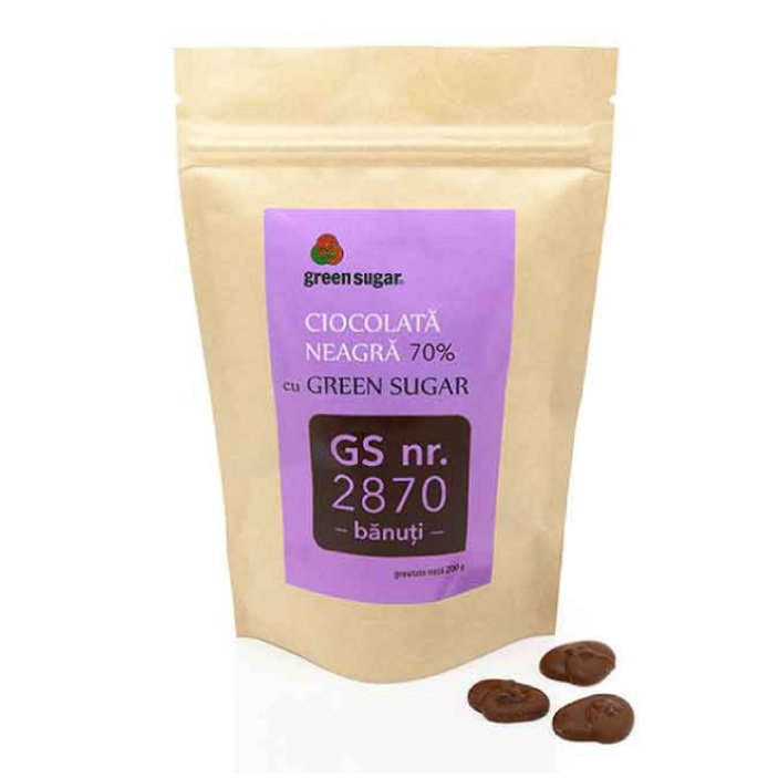 Banuti de ciocolata neagra cu green sugar, 200 g, Remedia