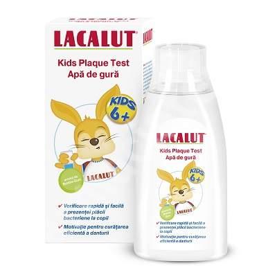 Apă de gură pentru copii peste 6 ani Lacalut Kids Plaque Test, 300 ml, Theiss Naturwaren