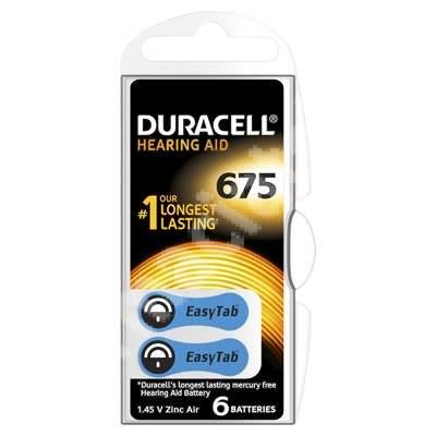 Baterii pentru aparat auditiv HA ZA675, 6 bucăți, Duracell
