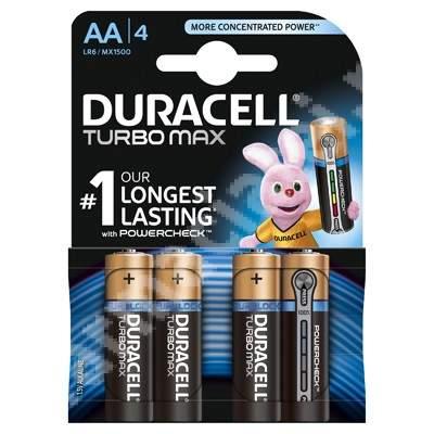 Baterii Turbo Max AA, 4 bucăți, Duracell