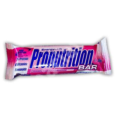Baton proteic energizant cu aroma de capsuni, 55 g, Pro Nutrition