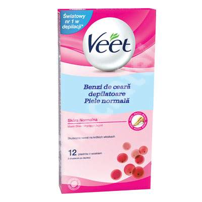 Benzi depilatoare pentru corp piele normala cu unt de Shea si fructe de padure, 12 bucati 2 servetele, Veet