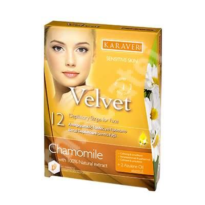 Benzi depilatoare pentru fata cu extract de musetel Velvet, 12 bucati, Karaver