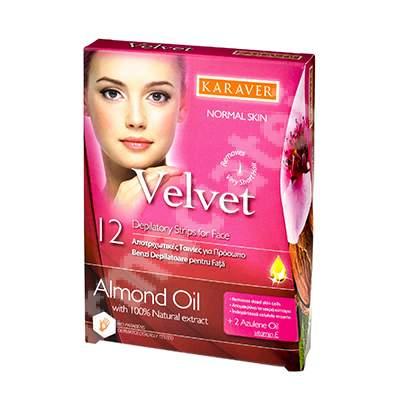 Benzi depilatoare pentru fata cu ulei de migdale Velvet, 12 bucati, Karaver