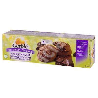Biscuiti cu cacao si fulgi de ciocolata fara gluten Gerble, 160 g, Nutrition & Sante