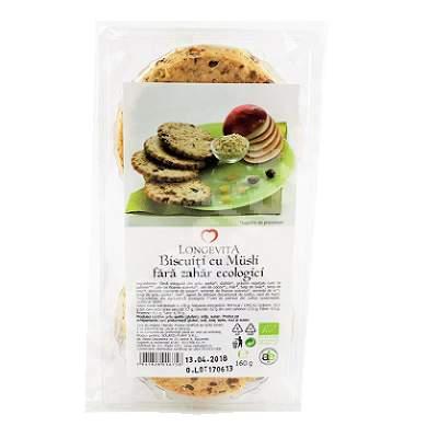 Biscuiti cu Musli fara zahar ecologici, 160 g, Longevita