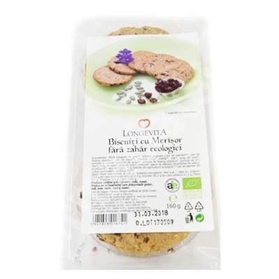 Biscuiti ecologici cu merisor fara zahar, 160 g, Longevita