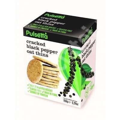 Biscuiti vegani fara gluten din ovaz cu piper negru Pulsetta, 150g, Activ Pharma Star