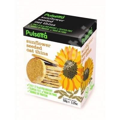 Biscuiti vegani fara gluten din ovaz cu seminte de floarea-soarelui Pulsetta, 150g, Activ Pharma Star