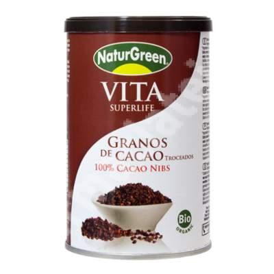 Boabe-fulgi de cacao Eco despicate, neprajite si nefermentate, 200 g, NaturGreen