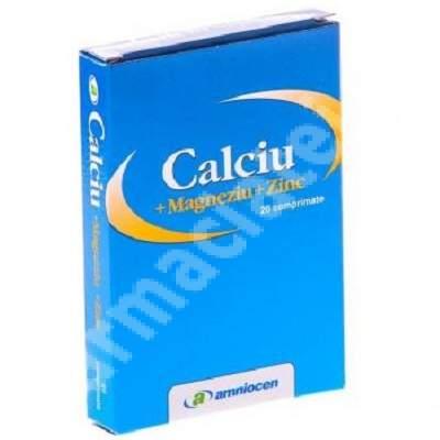 Calciu+Magneziu+Zinc, 20 comprimate, Amniocen