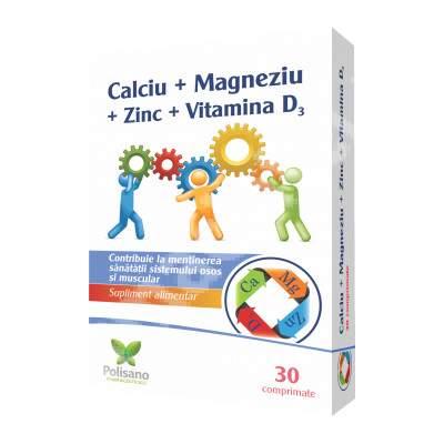 Calciu + Magneziu + Zinc + VItamina D3, 30 comprimate, Polisano Pharmaceuticals