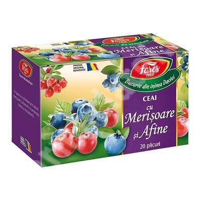 Ceai cu merișoare și afine, 20 plicuri, Fares