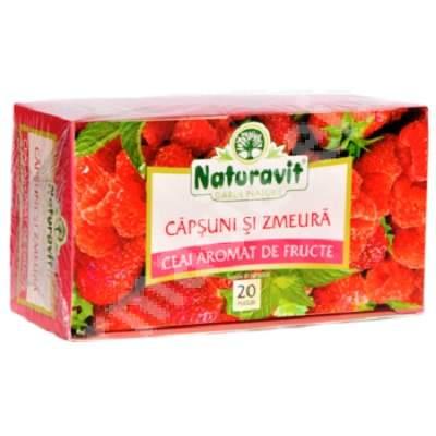 Ceai de capsuni si zmeura, 20 plicuri, Naturavit