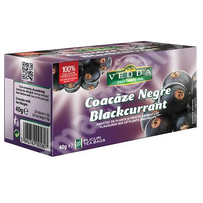 Ceai de coacaze negre, 20 plicuri, Vedda