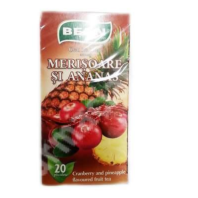 Ceai de fructe aromat Merisoare si Ananas, 20 plicuri, Belin