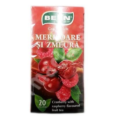 Ceai de fructe aromat Merisoare si Zmeura, 20 plicuri, Belin