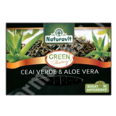 Ceai verde cu aloe vera, 15 plicuri, Naturavit