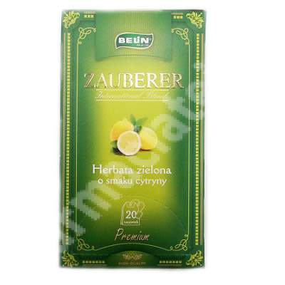 Ceai verde cu aroma de lamaie Zauberer, 20 plicuri, Belin