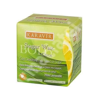 Ceara depilatoare rece pe baza de zahar cu Citrice Sugar Wax, 140 g, Karaver