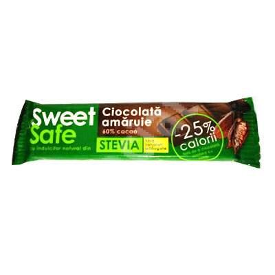 Ciocolata amaruie cu indulcitor natural din stevia Sweet&Safe, 25 g, Sly Nutritia