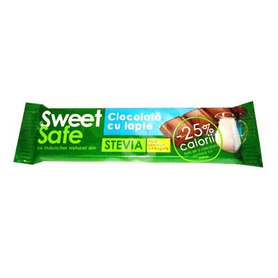 Ciocolata cu lapte cu indulcitor natural din stevia Sweet&Safe, 25 g, Sly Nutritia