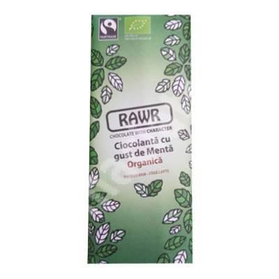Ciocolata organica cu gust de menta, 60 g, Rawr