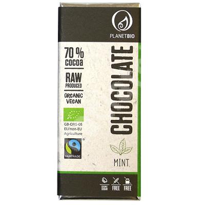 Ciocolata organica fara gluten cu menta si 70% cacao, 30 g, Planet Bio