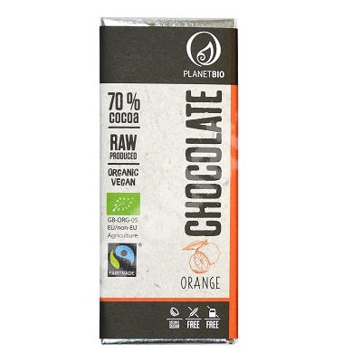 Ciocolata organica fara gluten cu portocale si 70% cacao, 30 g, Planet Bio