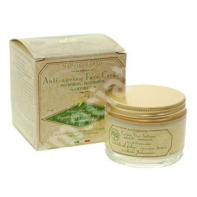 Crema antiimbatranire cu ulei organic de masline si acid hialuronic, 50 ml, Mediterraneo