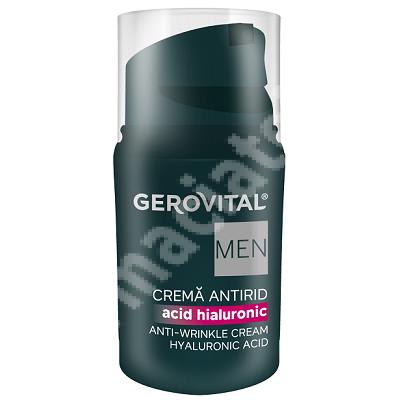 Crema antirid cu acid hialuronic Gerovital Men, 30 ml, Farmec