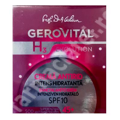 Cremă antirid intens hidratanta 45+ SPF10 Gerovital H3 Evolution, 50 ml, Farmec