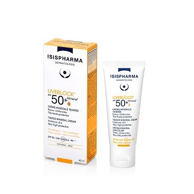 Cremă cu protecție solară UVEBLOCK SPF 50+ Tinted Mineral, 40 ml, Isis Pharma