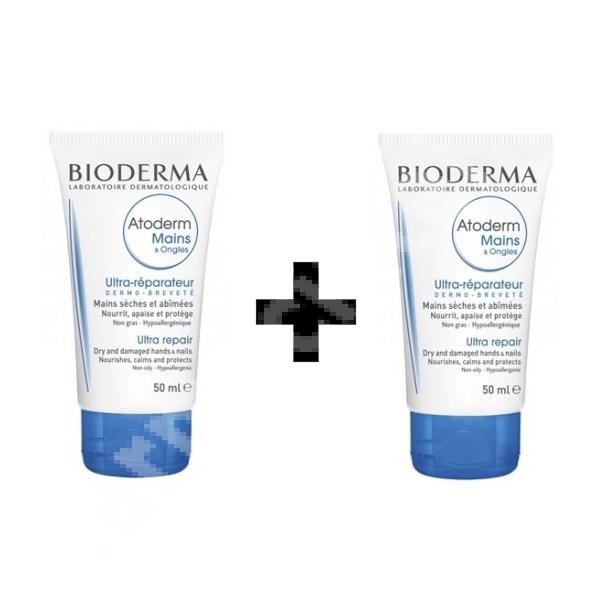 Crema de maini Atoderm, 2 x 50 ml, Bioderma (70% reducere la al 2-lea produs)