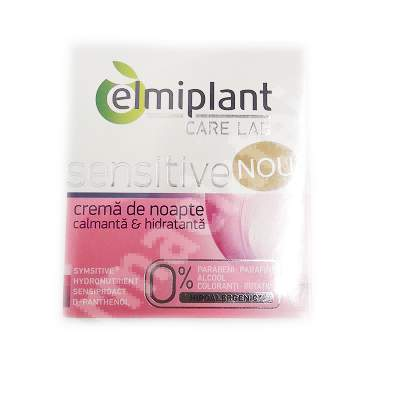 Cremă de noapte calmantă și hidratanta Care Lab Sensitive, 50 ml, Elmiplant