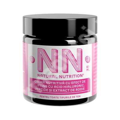 Cremă nutritivă cu efect de lifting cu acid hialuronic, peptide și extract de rodie, 60 ml, NN Cosmetics
