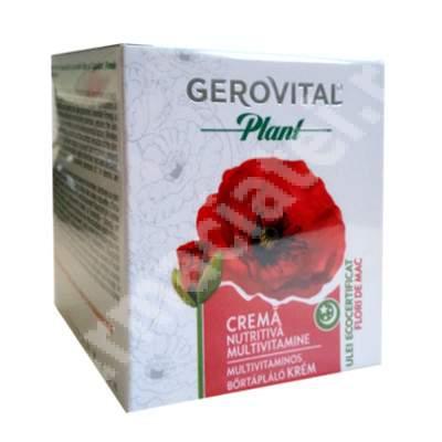 Crema nutritiva multivitamine cu ulei de flori de mac Gerovital Plant, 50 ml, Farmec