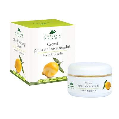 Crema pentru albirea tenului cu extract de lamaie si papadie, 50 ml, Cosmetic Plant