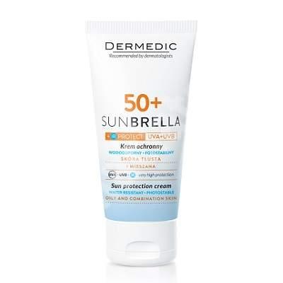 Crema protectie solara SPF 50+ pentru ten mixt-gras cu tendinta acneica Sunbrella, 50 g, Dermedic