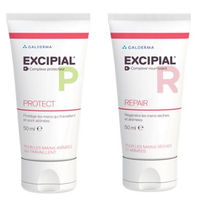 Cremă protectoare pentru mâini Excipial P Protect, 50 ml + Cremă pentru mâini uscate și iritate Excipial R, 50 ml, Galderma