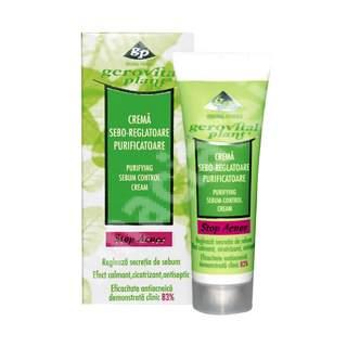 Crema sebo-reglatoare purificatoare Gerovital Plant Stop Acnee, 50 ml, Farmec
