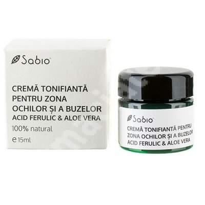 Cremă tonifiantă cu acid ferulic și aloe vera pentru zona ochilor și a buzelor, 15 ml, Sabio