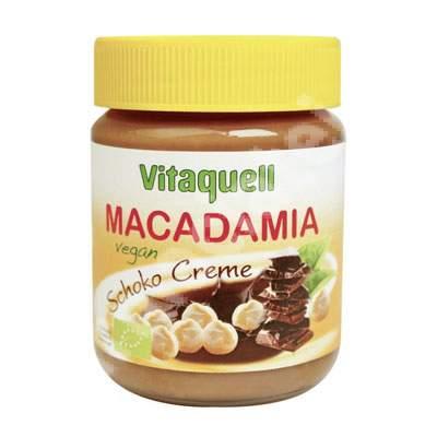 Crema vegana de ciocolata cu nuca de macadamia, 250 g, Vitaquell