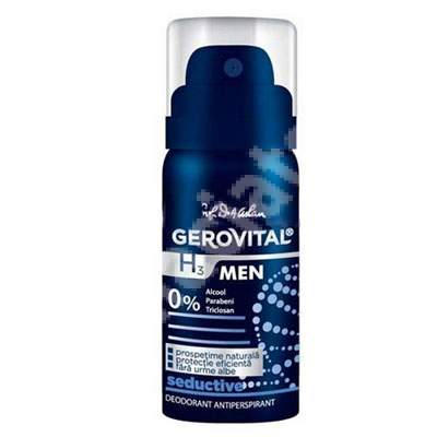 Deodorant antiperspirant Gerovital H3 Men Seductive, 40 ml, Farmec