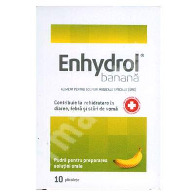 Enhydrol aromă de banane, 10 plicuri, Akacia