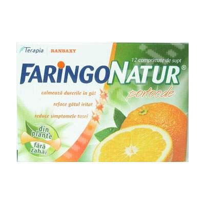 Faringo Natur portocale, 12 comprimate, Terapia